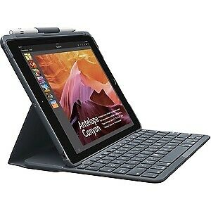 SLIM FOLIO with Integrated Bluetooth Keyboard for iPad (5th and 6th generation)-CARBON BLACK-DEU-BT-